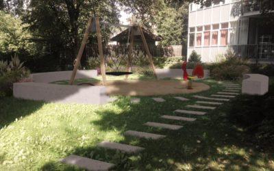 Ostrava, dětské hřiště uprostřed bytových domů